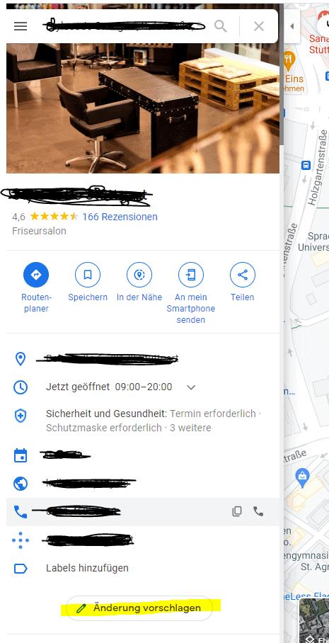 Google Maps Änderungen vorschlagen