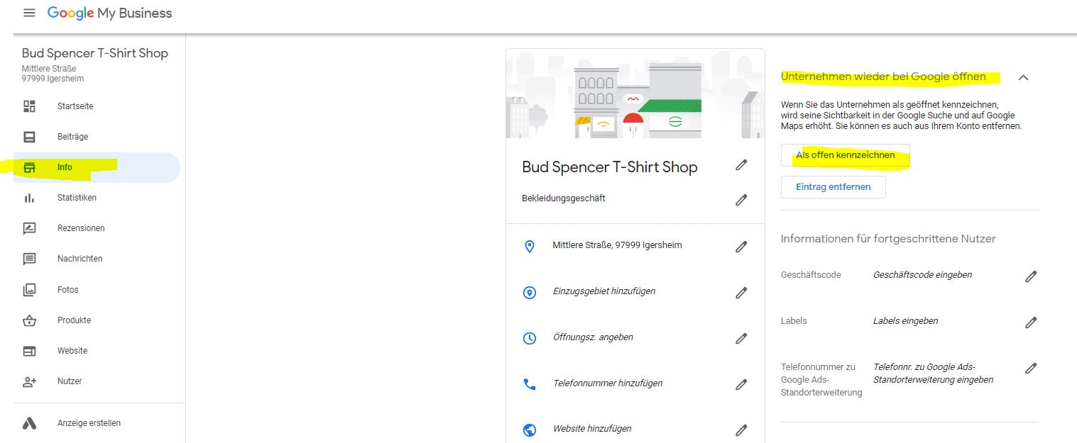 Google Eintrag Unternehmen als offen kennzeichnen