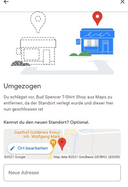 Google Eintrag Unternehmen umgezogen