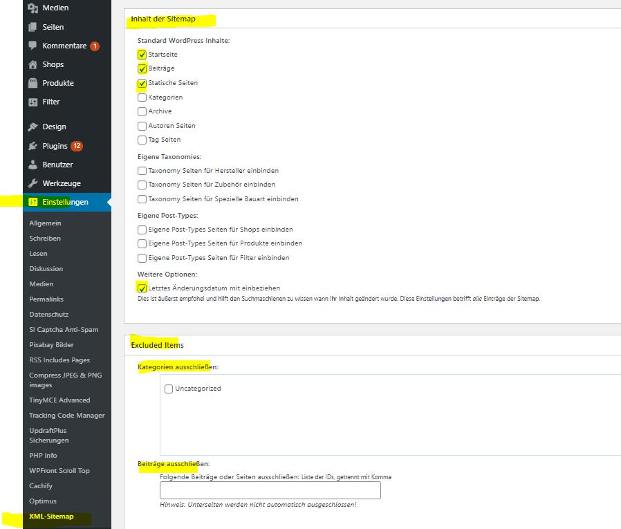 xml-sitemaps-backend-einstellungen